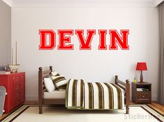 This 1-color personalized varsity name wall decal will add a playful touch to any boys or girls room. This Vinyl Wall Decal is 15Tall - (67x15 shown in product image). Size may vary depending on length of name. See our other sizes to see what is right for you. Custom sizes are also available. *Please make a note of the following when you place your order: **Name **Color for Name If no colors are chosen, colors displayed will be produced. A proof will be sent within 1-2 days after purchase...