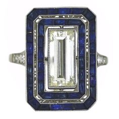 awesome Art Deco Diamond and Sapphire Ring | 1stdibs.com