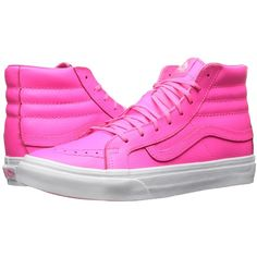 Vans SK8-Hi Slim ((Neon Leather) Neon Pink/True White) Skate Shoes ($50) ❤ liked on Polyvore featuring shoes, sneakers, leather sneakers, vans sneakers, white high top sneakers, vans high tops and white sneakers