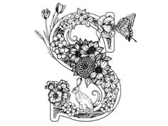 Alphabet Coloring Pages for Adults Awesome S is for Spring by Greg Coulton Via Behance Alphabet Coloring Pages, Colouring Pages, Adult Coloring Pages, Stylo Art, Buch Design, Illuminated Letters, Letter Art, Doodle Art Letters, Calligraphy Art