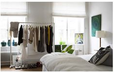 With closet space at a minimum, we're warming up to the idea of putting your wardrobe on display: A clothing rack is a simple solution to not just storing your clothes, but it's got a carefree, casual style to it Closet Bedroom, Closet Space, Bedroom Storage, Bedroom Apartment, Apartment Living, Apartment Therapy, Apartment Ideas, York Apartment, White Clothing Rack