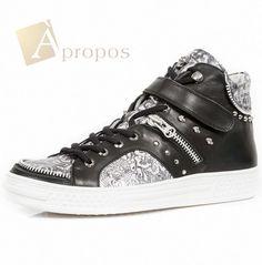 Sneaker Echt Leder 0,5cm Unisex Damen Herren Totenkopf Nieten Schwarz Apropos