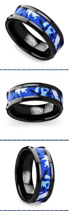 This black ceramic men's wedding band is 8 millimeters wide and features a blue and white camouflage inlay design with beveled edges and a comfort fit.
