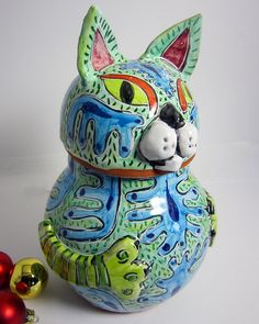 "Cat Treat Jar Ceramic Clay Majolica SIZE: 10"" tall x 6.5"" at the widest belly zone (26 cm x 16 cm) This jar is suitable for pet treats, cookies or as a memorial urn."