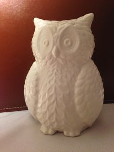 """We have this white ceramic owl """"piggy bank"""" from Target."""