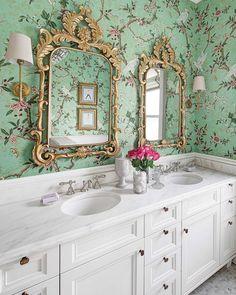 """#NationalFragranceDay calls for an extra-glam vanity. #Chinoiserie, anyone? (: Eric Hausman, design by @elizabethstamos) #bathroomdesign"""