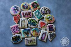 watercolor grafitti custom sugar cookies