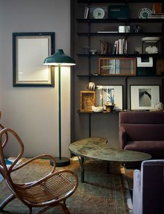 Beautiful lamp and simple shelving / Dimore studio