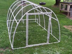 lightweight pen - make this with portable nesting boxes out of Tupperware containers-4 stacked one on top of the other.  Provide  a PVC bar for the hens to jump up on to access the upper nesting containers.  Also, cover with blue plastic tarp for shade & rain protection.  May also put a door on BOTH ends & make slightly longer if it isn't too heavy.