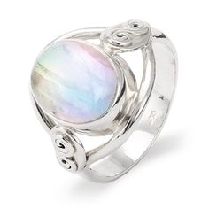 This sterling silver oval rainbow moonstone ring makes for a gorgeous and unique addition to a holiday outfit.