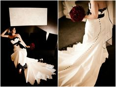 Ohhhhh, this dress...  black and white wedding gown- love those buttons!