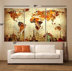 "LARGE 30""x 60"" 3 Panels 30""x20"" ea Art Canvas Print Original Wonders of the world Old Paper Map vintage Wall decor Home interior (framed 1.5"" depth)"