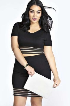 Nadia Aboulhosn Plus Size Collection at Boohoo. Plus Size  Crop Top & Mini Skirt