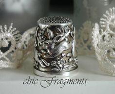 THIMBLE. Vintage Sterling Silver. Repousse Rabbits. Mint Condition. LES LAPINS. $119.00, via Etsy.
