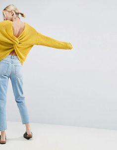 ASOS Chunky Sweater Twist Back - Yellow