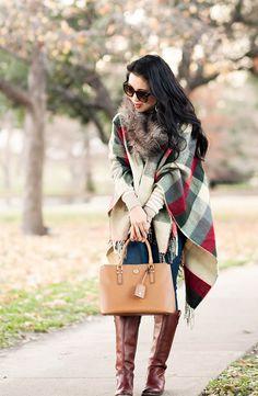cute & little blog   petite fashion   boohoo plaid fringe cape, striped turtleneck, fitcode paige verdugo jeans, frye melissa riding boots, fur scarf   fall winter outfit