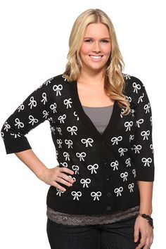 Torrid Retro Chic - Black And White Bow Deep V-Neck Cardigan