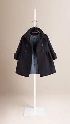 Пальто в стиле милитари из шерсти с кашемиром Темно-синий   Burberry