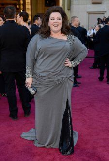 Melissa McCarthy | Grey long-sleeved David Meister dress.