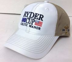 New 2010 RYDER CUP CELTIC MANOR HAT White/Brown Mesh/Athletic Dry-Fit Golf OSFA #Imperial