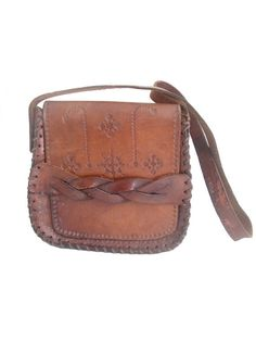 70s  natural tan leather bag tooled by lesclodettes on Etsy