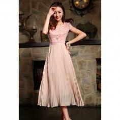 $17.44 Noble Lace Splicing Chiffon Short Sleeve Long Dress For Women