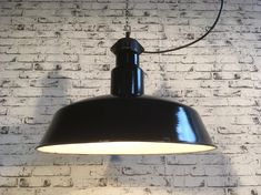 Mid Century Industrial Black Enamelled Factory Lamp, 1950s Industrial Design, Industrial Lamps, Black Enamel, Mid Century, Ceiling Lights, Lighting, 1950s, Home Decor, Products