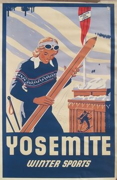 NOT A REPRO Vintage 1940s Yosemite Ski Poster #2 — HARD-TO-FIND orig large litho