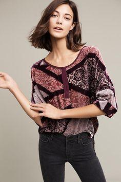 Patchwork Velvet Pullover | Anthropologie