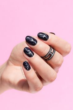 Nails of the Day: Black Marble Nails. Plus, Tutorial