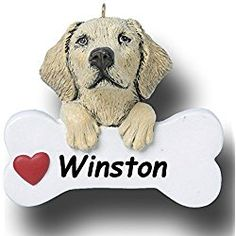 Personalized Yellow Lab Dog and Bone Christmas Ornament - 3 inches