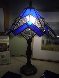 Stained glass / leadlight lamp - cobalt blue and textured clear - by…