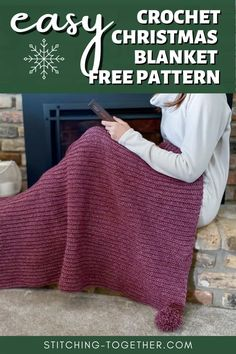 Crochet Throw Pattern, Easy Crochet Blanket, Crochet Quilt, Afghan Crochet Patterns, Free Crochet, Crochet Blankets, Crochet Box, Crochet Ideas, Christmas Crochet Blanket