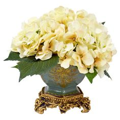 Create a lush tablescape or charming vignette with this lovely faux hydrangea arrangement, nestled in an antique-inspired footed pot.