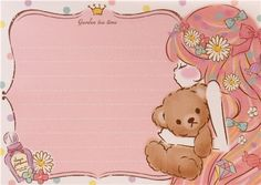 white purple turquoise teddy bear girl block Note Pad by Q-Lia 6