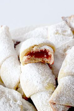 Dairy Free Rogaliki are such a sweet treat! These Polish rugelach can be fill with jelly or chocolate. So yummy! Russian Dishes, Russian Desserts, Russian Recipes, Russian Foods, Great Desserts, Dessert Recipes, Russian Cookies, Rugelach Cookies, Dairy Free Recipes Easy