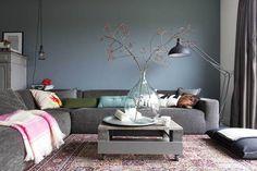 Viyet Style Inspiration | Living Room | Grey sectional sofa, grey walls, modern interior, traditional rug.