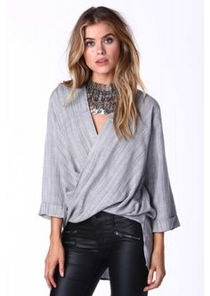 Sylvia Twist Front Blouse in Heather grey | Necessary Clothing