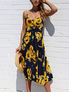 Hot Selling Floral Strap Long Dresses