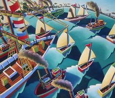 A Parade of Ships by WadeZaharesFineArt on Etsy