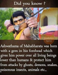 Aswathama is immortal and he is still alive . Wierd Facts, Wow Facts, Intresting Facts, Funny Facts, Gernal Knowledge, General Knowledge Facts, Knowledge Quotes, Mahabharata Quotes, Sanskrit Quotes