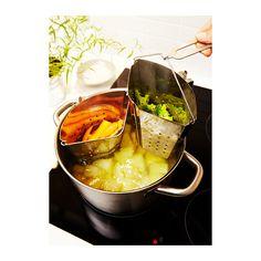 STABIL Panier cuisson  - IKEA. Un seul ustensile suffit pour la cuisson simultanée de différents aliments en même temps, ce qui permet une économie d'énergie. - L'ustensile est facile à déplacer grâce à sa poignée amovible qui ne chauffe pas en même temps que l'ustensile.