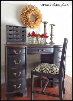 refinished antique desk, painted furniture, Added some new fabric to the chair and Desk Redo, Desk Makeover, Furniture Makeover, Dresser Desk, Paint Furniture, Furniture Projects, Cool Furniture, Modern Furniture, White Furniture