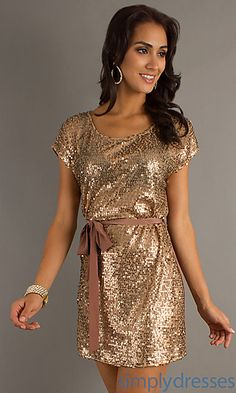 Gold dress short sleeve