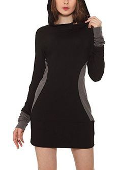 VESSOS Women's Long Sleeve hoodie Dress $23.99 order up one or two sizes #AD #Sponsored #Vessos https://www.amazon.com/dp/B01N9A40MR/