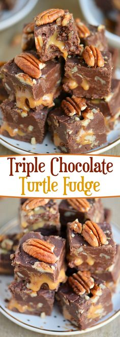This decadent Triple Chocolate Turtle Fudge features three different types of chocolate and an ooey, gooey caramel center that is hard to resist! Great for gift giving and the holidays! // Mom On Timeout (triple chocolate fudge cake) Köstliche Desserts, Delicious Desserts, Dessert Recipes, Dinner Recipes, Holiday Recipes, Plated Desserts, Christmas Recipes, Holiday Baking, Christmas Baking