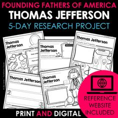Your students will love learning about Thomas Jefferson - one of the Founding Fathers of America - with this fun research project. Scaffolded notes support students through the research process from start to finish. Simply share the kid-friendly Reference Website created for this project with your s... Daily Lesson Plan, Lesson Plans, Reference Website, Benjamin Franklin, Research Projects, Create Website, Founding Fathers, Google Classroom, Upper Elementary