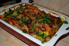 Zöldséges csirke a sütőből – a család kedvence! Mámorító! Japchae, Poultry, Main Dishes, Appetizers, Food And Drink, Beef, Baking, Ethnic Recipes, Main Courses