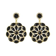 Amrita Singh Black & Goldtone Eastern Peony Drop Earrings ($8.99) ❤ liked on Polyvore featuring jewelry, earrings, kohl jewelry, goldtone jewelry, black drop earrings, gold tone jewelry and black jewelry