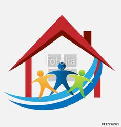 """Download the royalty-free vector """"Family with a new house logo vector image"""" designed by glopphy at the lowest price on Fotolia.com. Browse our cheap image bank online to find the perfect stock vector for your marketing projects!"""